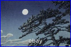 Kawase Hasui Japanese original woodblock print Spring moon lifetime