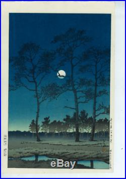 Kawase Hasui Japanese woodblock print Tsukitoyamagahara in winter-first print