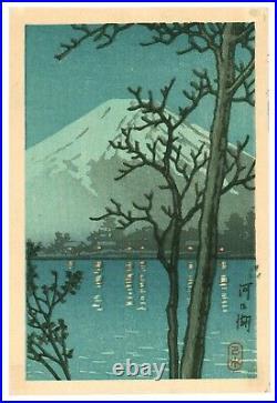 Kawase Hasui Lake Kawaguchi antique Japanese Woodblock Print