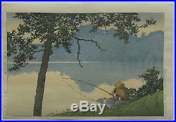 Kawase Hasui Lake Matsubara, Shinshu Japanese Woodblock Print 1941 -First Ed