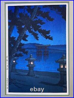 Kawase Hasui Moonlit night, Miyajima Japanese Woodblock Print