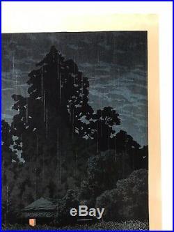 Kawase Hasui Original Japanese Woodblock Print Rain At Omiya 1930 Rare Woodcut