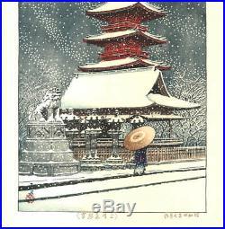 Kawase Hasui Ueno Toshogu no Yuki Snow 1929 Japanese Woodblock Print F/S