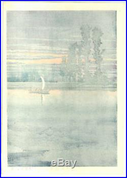 Kawase Hasui Ushibori no Yugure Sunset 1930 Japanese Woodblock Print SHIN HANAGA