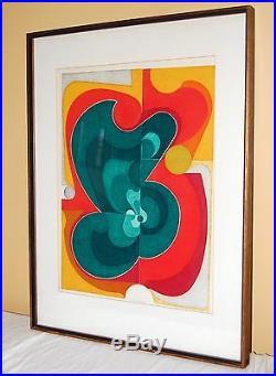 Kazumi Amano (1927-2001) Japanese Woodblock Lithograph Print Mid Century Modern