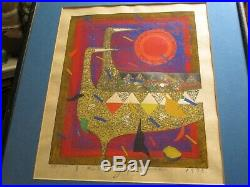 Kimura Japanese Woodblock Print Abstract Cubist Cubism Modernism Birds Signed