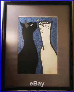Kiyoshi Saito Japanese Woodblock Print Steady Gaze (Two Cats)