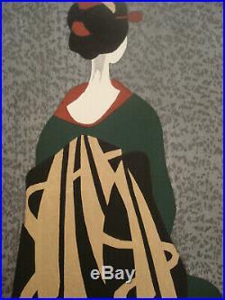 Kiyoshi Saito Japanese color woodblock print, Maiko, 1960, pencil signed