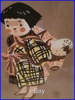 Kiyoshi Saito Mid Century Modern Japanese Woodblock Girl Carrying Baby Art