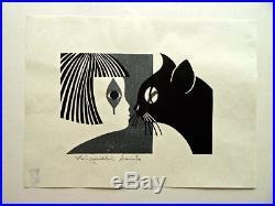 Kiyoshi Saito Original Signed and Sealed Japanese Woodblock Print -Cat and Girl