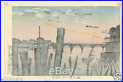 Kobayashi Kiyochika JAPANESE Woodblock Print 1000 Poles and Ryogoku Bridge