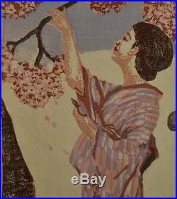Koshiro Onchi Cherry Blossom Time Original Japanese Woodblock Print