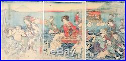 Kunichika, Original Japanese Woodblock Print, River Oi, Beauty, Fuji, Kimono