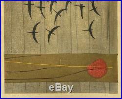 Kunihiro Amano Modernist Abstract Birds Japanese Woodblock Vintage 60s Art Print