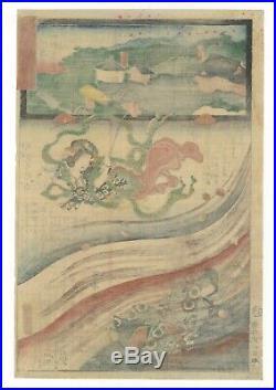 Kunisada II, Original Japanese Woodblock Print, The Miracles of Kannon, Ukiyo-e
