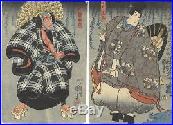 Kuniyoshi Utagawa, Actors, Diptych, Ukiyo-e, Original Japanese Woodblock Print