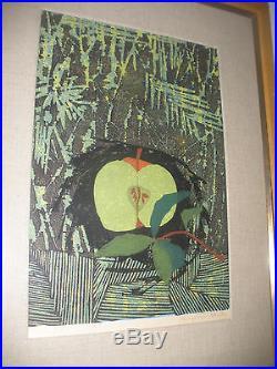 LISTED ARTIST JAPAN TAMAMI SHIMA 1961 Original PENCIL SIGN Woodblock Print