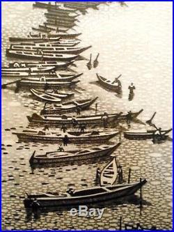 LISTED JAPANESE ARTIST WOODBLOCK PRINT by GIHACHIRO OKUYAMA 1950s VINTAGE