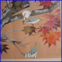 Large Rakusan Tsuchiya Japanese Woodblock Red Autumn Maple Goldcrest Bird Framed