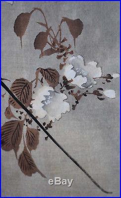 Listed Japanese Artist Koson Ohara, Original Color Woodblock Rare Signed Crow