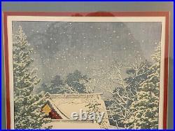 Lithograph Print After Kawase Hasui Japanese Woodblock Snow at Hie Shrine
