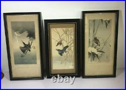 Lot 3 Japanese Woodblock Prints Gesso Birds Antiques