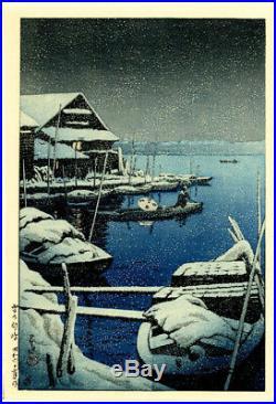 MINT 1931 Kawase Hasui Snow at Mukojima Original Japanese Woodblock Print SUPERB