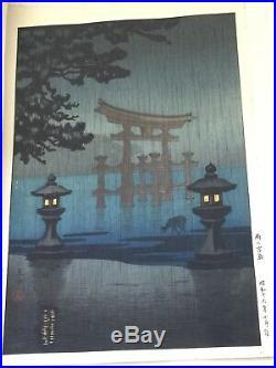 MIYAJIMA IN THE RAIN BY TSUCHIYA KOITSU ORIGINAL WOODBLOCK PRINTS Japanese