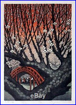 MORIMURA RAY Japanese WOODBLOCK Print Plum Blossoms in Tenjin SOLD OUT