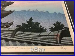 Masao Ido Japanese Woodblock Print Pagoda and Full Moon 1st Edition