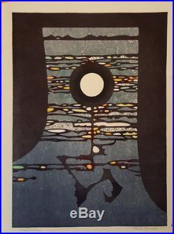 Meditation by Toshi Yoshida Japanese Woodblock Print Limited Edition Signed 1966