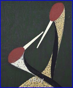 Mid-Century Kaoru Kawano Japanese Woodblock Print Sacred Cranes