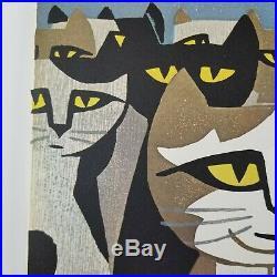 Mid Century Tomoo Inagaki Cat Woodblock Print Japan Art Audience of Cats 25in