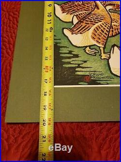 Modernist Geese Japanese Shiro Kasamatsu Woodblock Print Pencil 1958 Rare