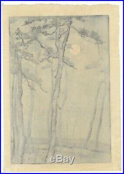 Mokuchu Urushibara, Moonlight, Landscape, Original Japanese Woodblock Print