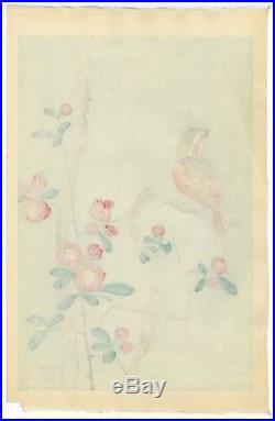 Nakamura Shundei Original OBAN Woodblock Print Bunting and Japanese Quince