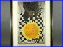 Nakayama Tadashi Girl Holding Sunflower Ukiyo-e Nishiki-e Woodblock Print Used