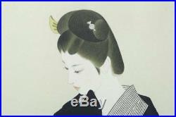 ORIGINAL JAPANESE WOOD BLOCK PRINT Limited Edition Beauty Tatsumi Japan d354
