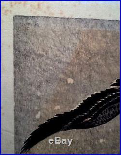 Ohara Koson 1877-1945 Japanese Vintage Woodblock Print Geese In Snowstorm