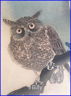 Old Estate artist marks Japanese WOODBLOCK PRINT Shoson Koson signed paper Owl
