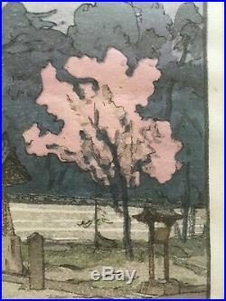 Omuro by Hiroshi Yoshida (1876-1950). Japanese Woodblock Print. Oban