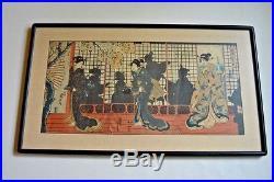 Original, 1860 antique Japanese woodblock triptych by Yoshitora (1800-1899)