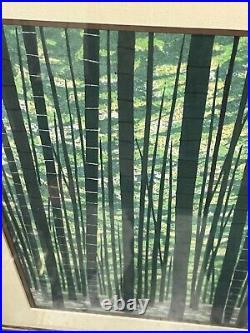 Original Fumio Fujita (born 1933) Japanese Woodblock Print Bamboo Forest 1980s