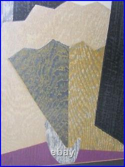 Original Hand Signed Kaoru Kawano Modern Japanese Woodblock,'Girl w Fan' c 1950