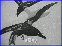 Original Ito Sozan Woodblock Print Crows Flying In Snow Terazaki Kogyo-rare