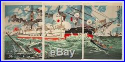 Original Japanese Woodblock Print, Kiyochika, Naval Battle, War, Ship, Sea