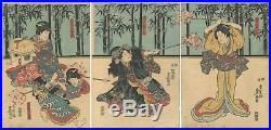 Original Japanese Woodblock Print, Toyokuni III Utagawa, Triptych, Kabuki, Ukiyo-e