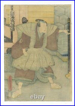 Original Japanese Woodblock Print, Triptych Toyokuni III Utagawa Samurai ukiyo-e