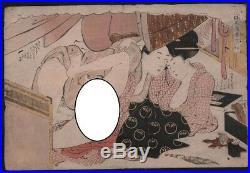 Original Japanese Woodblock Print by KIKAGAWA EIZAN Oban Shunga