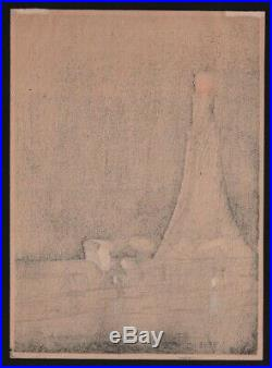 Original Japanese Woodblock Print by KOBAYASHI KIYOCHIKA Rainy Day